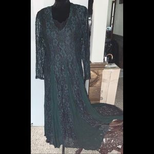 M Black Forest Green Lace 90s Dress Starina Gown